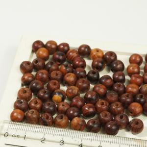 ミャンマー製 ウッド 天然素材 直径約8mm 217個 丸玉 ブラウン ハンドメイドパーツ ウッドビーズ アクセサリーパーツ|laplateriashu
