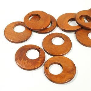 チャイナ製 ウッド 天然素材 幅約40mm 3個入り ラウンド ピアスパーツ ネックレスパーツ ハンドメイド ビーズ アクセサリーパーツ|laplateriashu