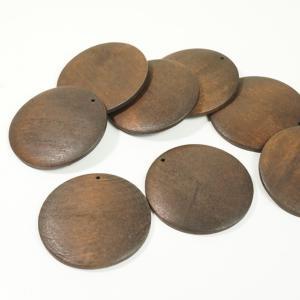 チャイナ製 ウッド 天然素材 幅約50mm 2個入り 丸型 ピアスパーツ ネックレスパーツ ハンドメイド ビーズ アクセサリーパーツ|laplateriashu