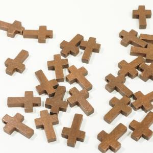 チャイナ製 ウッド 天然素材 20個入り クロス 十字架 ブラウン  ピアスパーツ ネックレスパーツ ハンドメイド ビーズ アクセサリーパーツ|laplateriashu