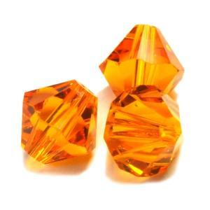 ガラスビーズ キラキラ 多面体 ひし形 クリアオレンジ 橙色 3gのグラム販売(約7個入り)  アクセサリーパーツ パーツ|laplateriashu