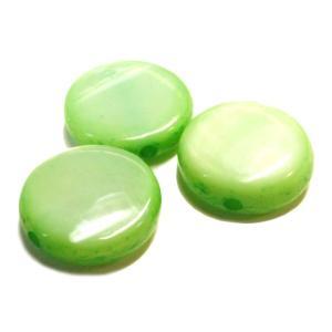 シェルビーズ マーブル ライトグリーン 黄緑色 3gのグラム販売(約10個入り)  アクセサリーパーツ パーツ|laplateriashu