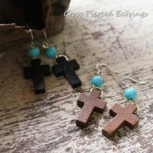 レディースピアス ウッド製の小さなクロス十字架サガリピアス|laplateriashu