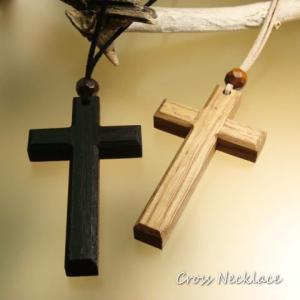 2Color 大きなウッド製のクロス十字架のロングネックレス  レディースネックレス メンズネックレス|laplateriashu