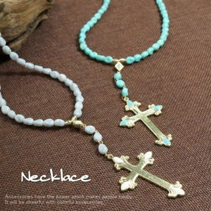 ネックレス クロスとビーズがボリューミーなインパクトのあるネックレス |laplateriashu