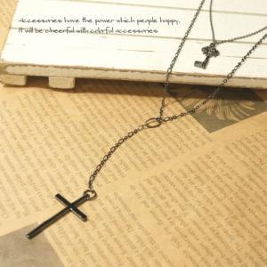 十字架と鍵のモチーフが可愛い2連ロングネックレス 【クロス キー レディースネックレス】|laplateriashu
