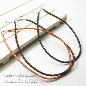 革ネックレス チョーカーネックレス レザーネックレス 40cm|laplateriashu