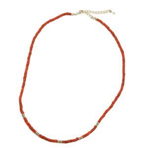 インド製アンティークビーズネックレス 合金ビーズ メタルビーズ メンズネックレス ネイティブアメリカン 赤 レッド メンズ ネックレス 45cm|laplateriashu