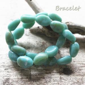 二連  キレイな青緑色のゴムブレスレット|laplateriashu