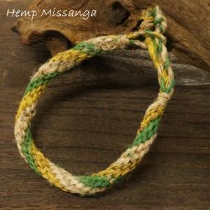ブレスレット 黄、緑の2色ヘンプ(麻)ミサンガ|laplateriashu