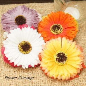 大きなひまわりの花が一際目を引く華やかなフラワーコサージュ ヘアアクセサリー ブローチ ワッペン バッヂ バッチ バッジ お花|laplateriashu
