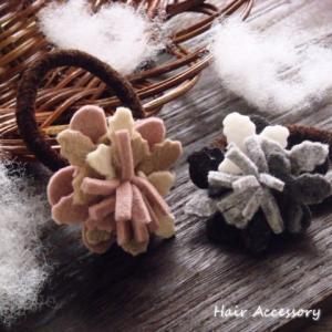 フェルト生地のあたっか風味お花フラワーヘアゴム ヘアアクセサリー|laplateriashu