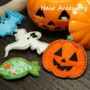 ハロウィーン かぼちゃ おばけ アメ こうもり ヘアクリップ|laplateriashu