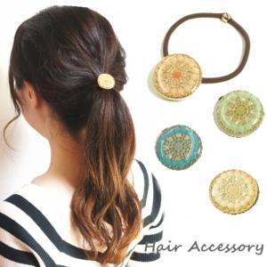 泡色フラワーが大輪の花になって輝くヘアゴムポニー ヘアアクセサリー ヘアーアクセサリー 髪留め|laplateriashu