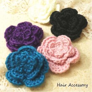 柔らかい毛糸素材のお花のブローチ|laplateriashu