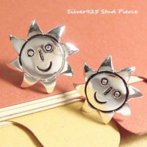 シルバーピアス レディース にっこり 笑顔 太陽 可愛い 太陽が笑っているピアス (a-6-2)|laplateriashu