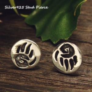 シルバーピアス レディース 円 熊の手形 インディアン 模様のピアス a291(a-7-6)|laplateriashu