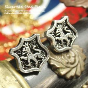 シルバーピアス レディース 英国風 王冠 ライオン 紋章 ピアス a436(a-13-2) laplateriashu
