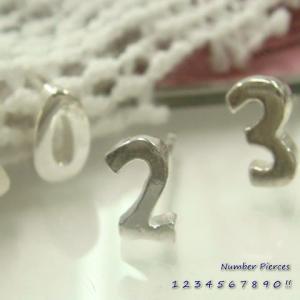 シルバーピアス レディース ラッキーナンバー 数字 スタッドピアス ※バラ売り a442-a451(a-13-5)|laplateriashu