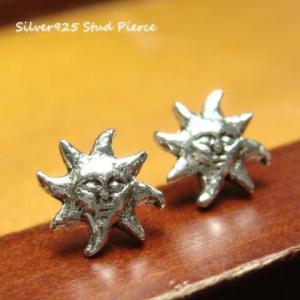シルバーピアス レディース 小さい 凛々しい 顔 太陽 ピアス a470(a-15-3)|laplateriashu