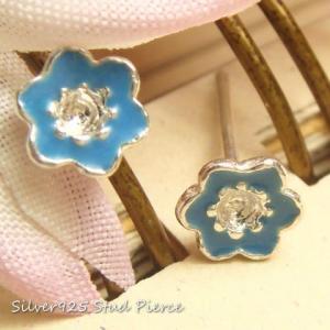 シルバーピアス レディース 中心の凹み 青いお花のピアス(b-3-6)|laplateriashu