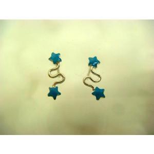 シルバーピアス レディース 青いふたつのお星様スタッドピアス (b-4-6)|laplateriashu