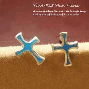 シルバーピアス レディース クロス十字架ピアス(b-5-5)|laplateriashu