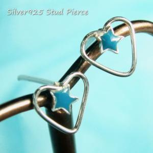 シルバーピアス レディース オープンハートの中にブルーの小さな星 ハートスターピアス b194(b-4-10)|laplateriashu
