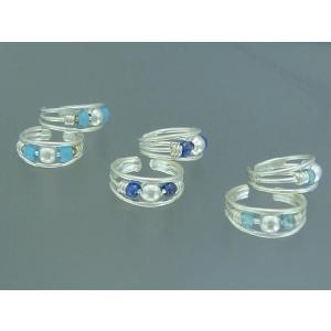 3colorの青系ビーズが涼しげなイヤーカフス ワイヤーイヤカフec105ec106ec107 ec-6-5 イヤーカーフ|laplateriashu