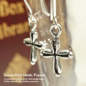 シルバーピアス レディース 溝があり陰影が美しいクロス十字架のサガリピアス16 f016(f-2-1)|laplateriashu