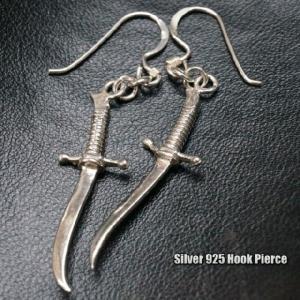 シルバーピアス 海賊や山賊が持っていそうな大き目な剣のフックサガリピアス|laplateriashu