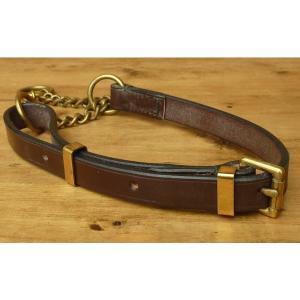 大型犬用首輪 L レザーハーフチョーク 幅1.87cmの1枚革 ダークブラウン   丈夫な革の首輪 イギリス製 larrys-company