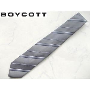 BOYCOTT (ボイコット) 上質ビジネスネクタイ シルバー|lastpass
