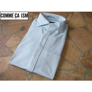 COMME CA ISM コムサイズム 細身ビジネスシャツ サックス Mサイズ lastpass