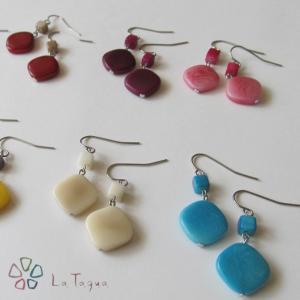 LT-5047 タグア ピアス/イヤリング スモールスクエア、 ピアスはキャッチ付き Tagua Earrings Small Square lataguab