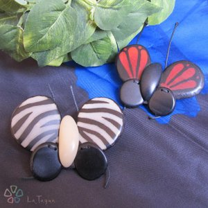 LT-7010b タグア ブローチ 蝶々 Tagua Brooch Butterfly|lataguab