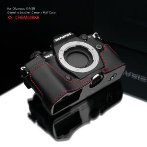 GARIZ/ゲリズ OLYMPUS OM-D E-M5 Mark II 用 本革カメラケース XS-CHEM5IIBKR ブラックレッドステッチ|laughs