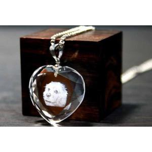 お手持ちの写真からオリジナル記念品を作成 Laser Crystal Art ネックレスタイプ ハート|laughs