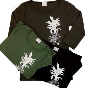 ラウレア ハワイ オリジナル 定番 7分袖 Tシャツ ティーリーフ 植物 フラ ダンス|lauleahawaii