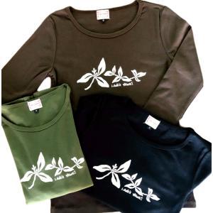 ラウレア ハワイ オリジナル 定番 7分袖 Tシャツ マイレ 植物 フラ ダンス|lauleahawaii