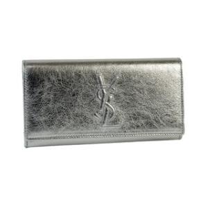 サンローラン:SAINT LAURENT 春夏新作 ロゴ付 2つ折り長財布 シルバー|laurenhills