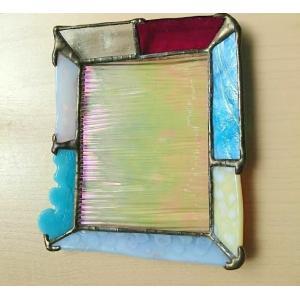 ステンドグラス プレート グラスプレート アクセサリートレイ ブルー |laurier