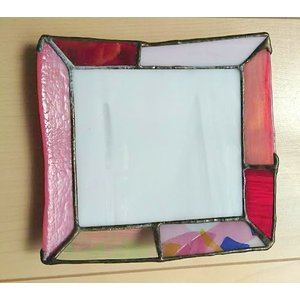ステンドグラス グラスプレート インテリアトレイ ピンク|laurier