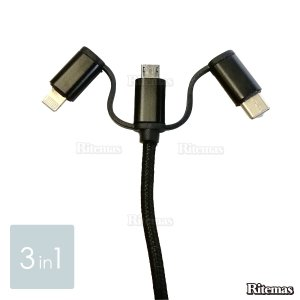3in1 Android iPhone micro USB Type-C用 急速充電ケーブル ナイロン モバイルバッテリー 充電器 USBケーブル i lavieofficial