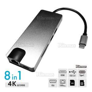 8in1 USB Type Cハブ 100W PD急速充電 イーサネット 4K HDMI USB3.0 SD&Micro SDカードスロット VGA搭|lavieofficial