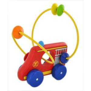 ピントーイ 木のおもちゃ くねくねコロコロ プッシュトーイ くねくね消防車|lavieshop