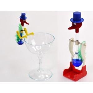 ドリンキングバード 水飲み鳥 平和鳥 スタンダー ドタイプ &  ミニタイプ & グラス 3点セット ブルー lavieshop
