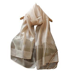 (エスエヌケー)SNK  冷房対策 シルク シフォンの華やかストール・ショール・スカーフ 薄手 羽織り (GOLD)|lavieshop