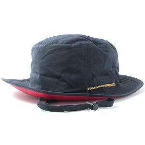(撥水 手洗いOK)BASIQUENTI サファリハット Teflon Safari Hat 男女兼用 フリーサイズ ネイビー(裏:レッド)|lavieshop