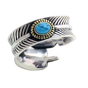 【STERLING SILVER 925】シルバー リング フェザー ターコイズ 指輪 インディアンジュエリー ;AMTHRI-012|lavieshop
